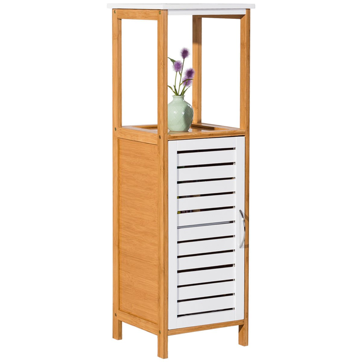 Bonebit Bamboo Bathroom Storage Rack Floor Cabinet Free Standing Shelf Towel Organizer
