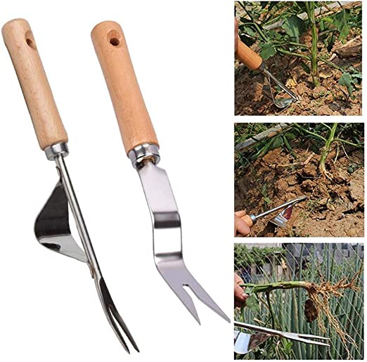 Mango de madera de mano met/álica de cavar azada para herramientas de jard/ín