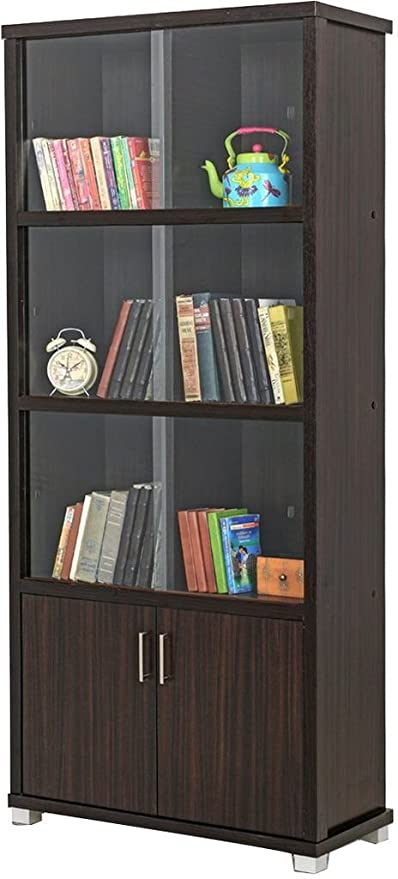 Royaloak Bookshelf With Sliding Doors Dark Brown