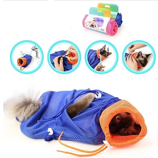 Cat bolsa de baño, NNIUK Multifuncional gato limpia lavado de bolsa Grooming Net respirante Unidad de rascarse / morder para Cat uñas de corte, baño, ...