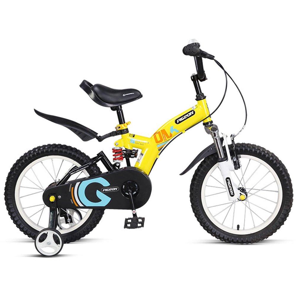 美しい 家ベビーカーを避けるために、前後のダンピング子供用自転車、14/16インチの男の子と女の子3-8歳 (色 : イエロー いえろ゜, サイズ さいず : 14 inch) B07CXPD79D 14 inch|イエロー いえろ゜ イエロー いえろ゜ 14 inch