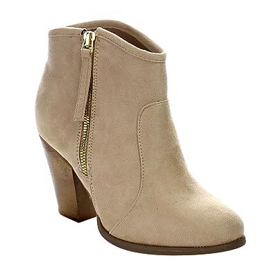ff573b911dd6 Liliana Romane-1 Women's Chunky Heel Riding Ankle Booties,Nude,5.5