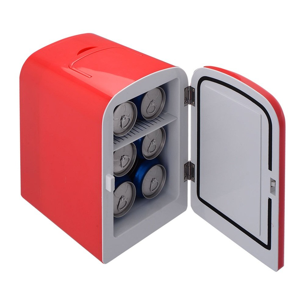 Mini Fridge Portable Cooler and Warmer Auto 6 Can Car Boat Home Office Cool and Hot Drinks AC & DC Red