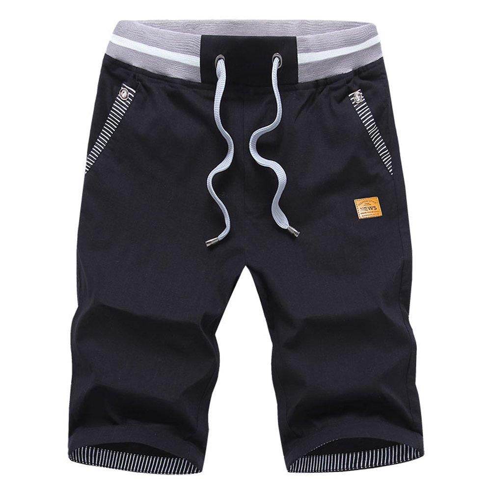 JustSun - Pantalón Corto - para Hombre Negro Negro (XX-Large