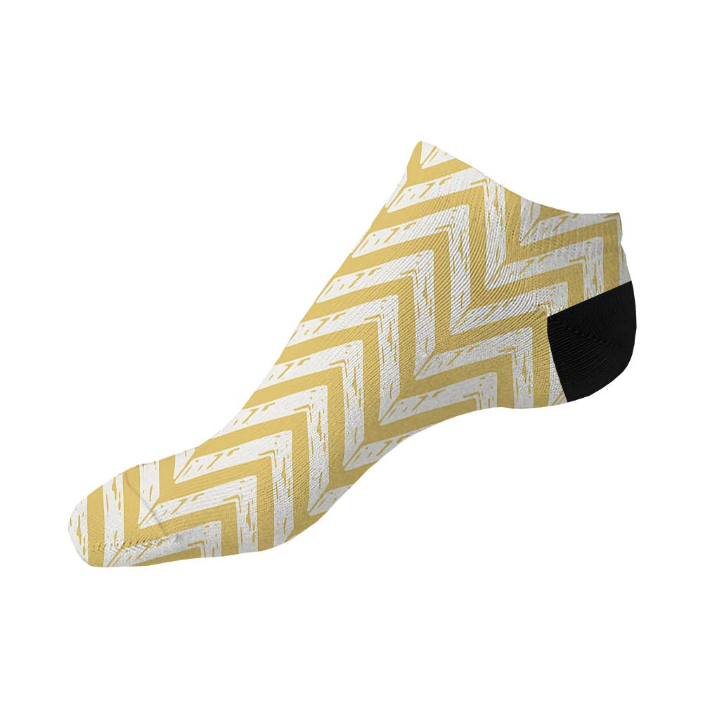 Yellow And White Pitter Pattern #8 Men-Women Adult Ankle Socks