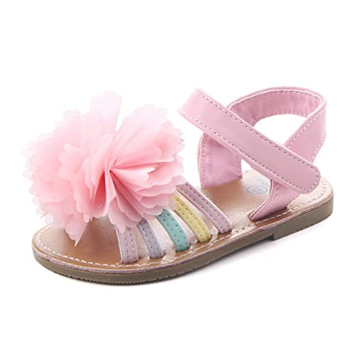 0bf77222581b Beeliss Baby Girls Sandals Rubber Sole Summer Shoes with Flowers (6-12  Months