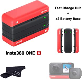 Insta360 ONE R Charger & Battery Bundle - Fast Charge Hub + (2) Battery Base for Insta360 ONE R Camera System (3 Items)