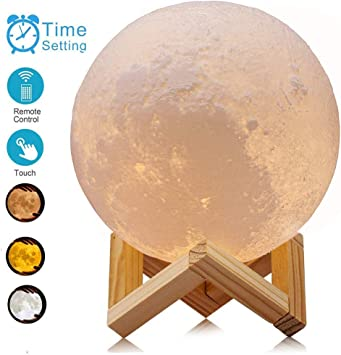 5.9Inch ACED Moon Lamp Touch Control Ajustable Brightness 3D Printed LED Moon Night Light Lamp USB Recharge Seamless Lunar Moonlight Lamp with Stand for Bedrooms Upgraded Version