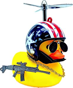 MuYuDaDi MYDD Lights Christmas Duck Cart Duck Cool Companion Toy Squeaky Glasses Duck (Stars and Stripes + Little Yellow Duck)