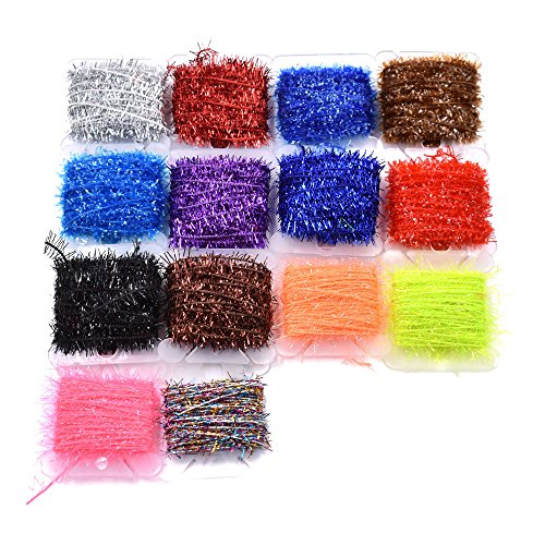 10 Cards Multi Colors Tinsel Chenille Line Crystal Flash Line Fly Fishing Tying Material for Nymphal Bugs Scud (15 Cards-75M)