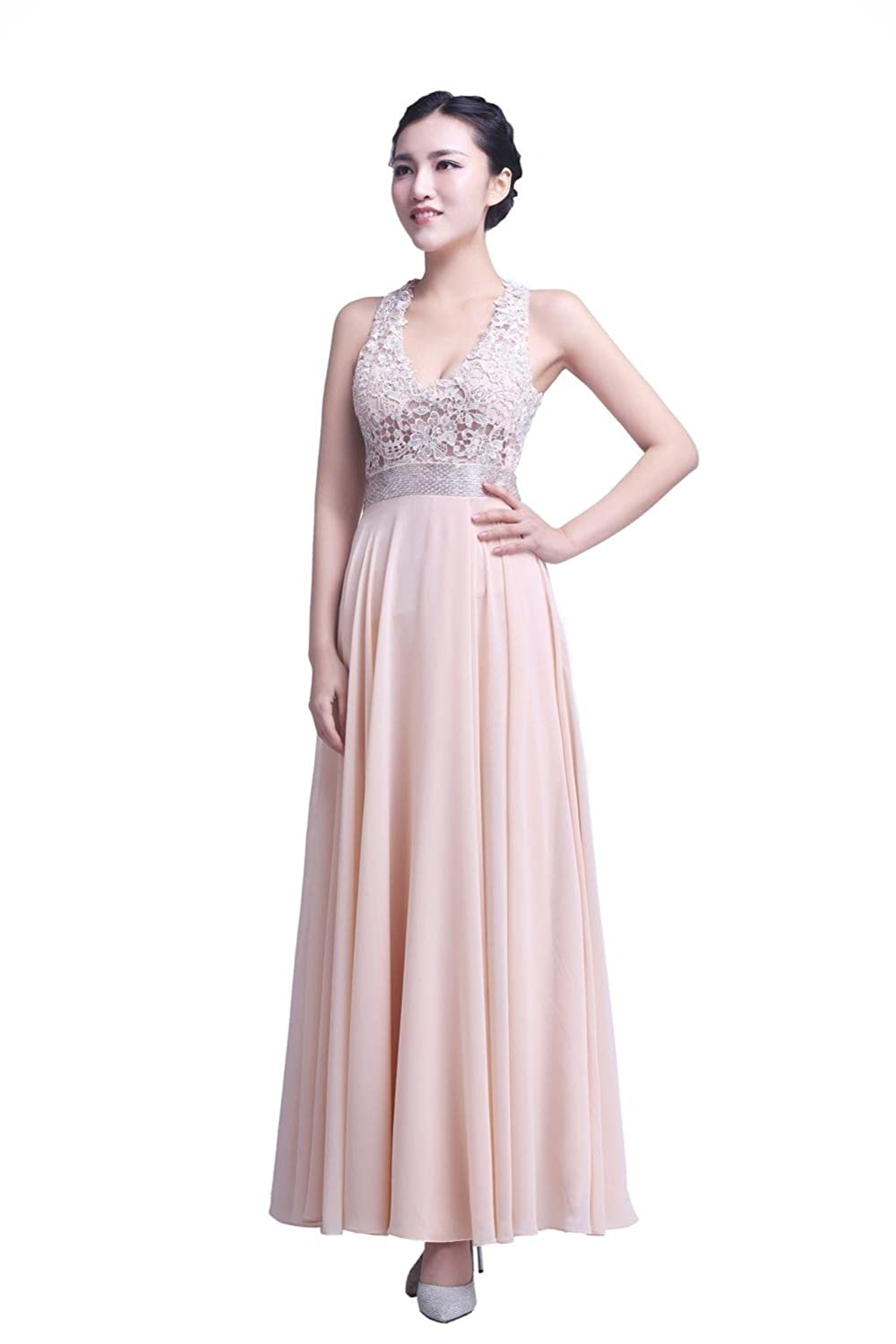 YiYaDawn Women's Lace Chiffon Party Prom Dress Backless Evening Gown