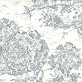 French Country Dove Gray Toile California King Duvet Cover with Toile Reverse