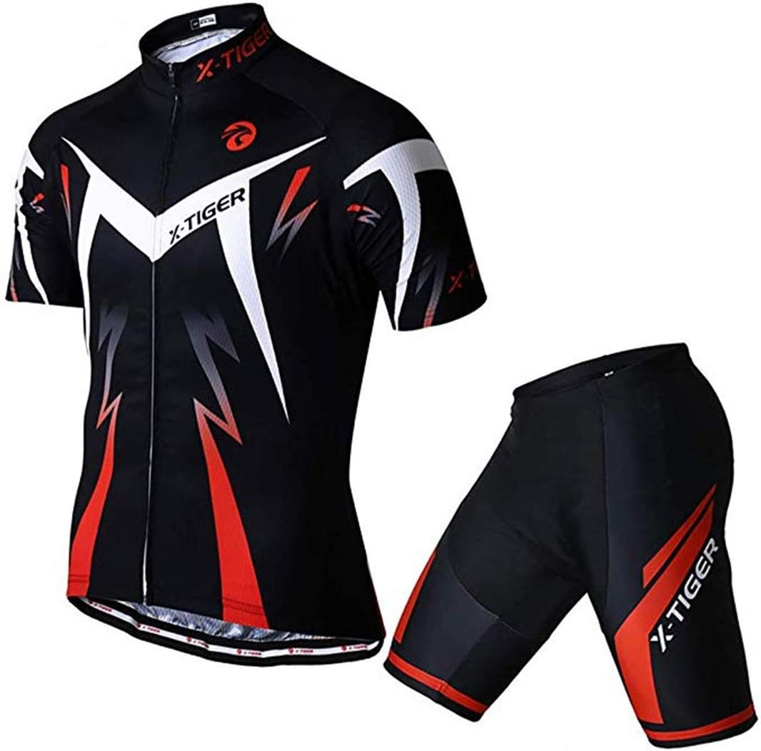 X-TIGER Men/'s Summer Short Sleeve Cycling Suits Set Cycling Jersey with 5D Gel Padded Shorts Bib Shorts For All Levels Of MTB Cyclist From Beginner To Pro