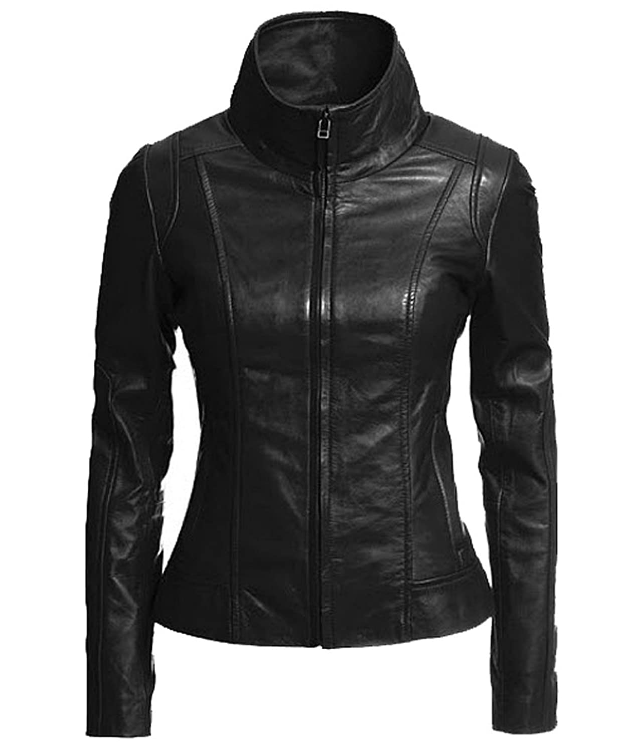 Exemplar Women's Genuine Lambskin Leather Moto Jacket Black LL896 ...