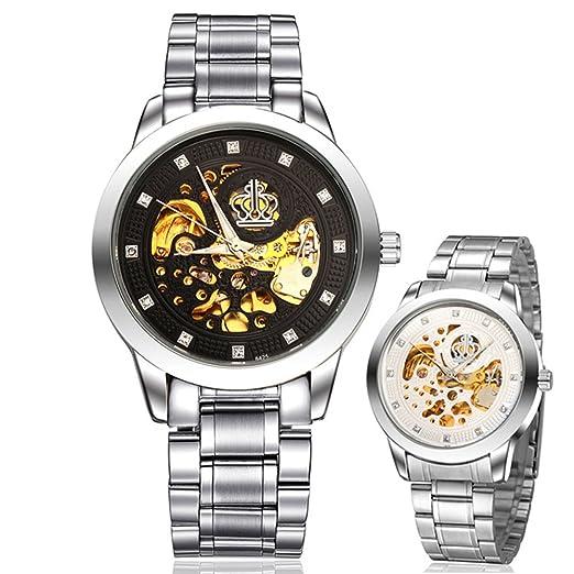 Marcas Hollow reloj mecánico barato impermeable Harina Un Relogio Masculin: Amazon.es: Relojes