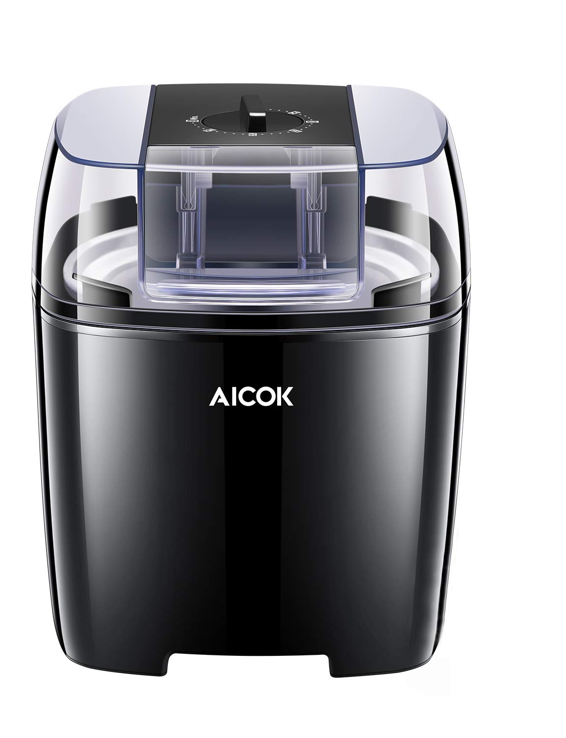 Aicok Ice Cream Maker, Frozen Yogurt and Sorbet Machine BPA Free with Timer Function, Easy Homemade Ice Cream with Instruction Book, 1.4 Quart, Black