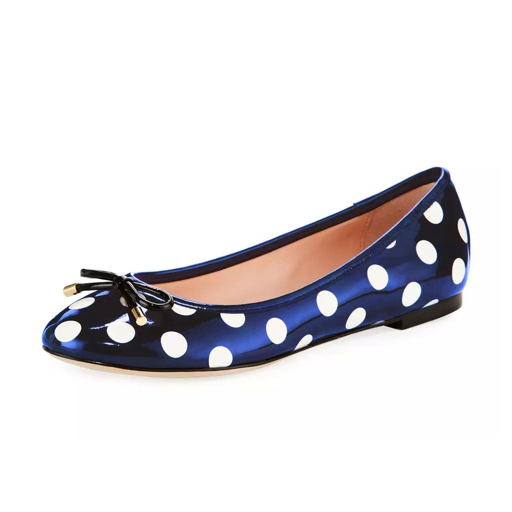 YDN Women Polka Dot Round Toe Ballets Slip-on Flat Heel Walking Shoes with Bowknot B0734NM3ZS 9 M US|Navy-white