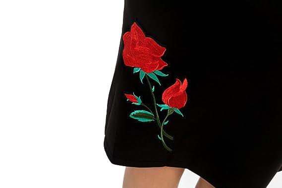 8f1dfb3c21 Chicwe Mujeres Tallas Grandes Elástico Vestido Recto Scuba con Rosa Bordado  - Vestido Casual en Oficina Fiesta con Longitud a la Rodilla Negro 4X  ...