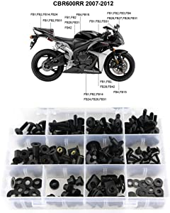 Xitomer Complete Fairing Bolt Kits, for Honda CBR600RR F5 2007 2008 2009 2010 2011 2012 2013 2014 2015 2016, Windscreen Bolts, Mounting Kits Washers/Nuts/Fastenings/Clips/Grommets (Matte Black)