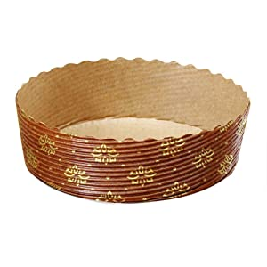 """Tortina Tart Mold Use It For Your Chocolate Cakes Or Jelly Tarts! Apple Pie, Cherry Pie And Kind Of Pies, Brown with Gold Print - 4"""" x 1.3"""" - Set of 25"""