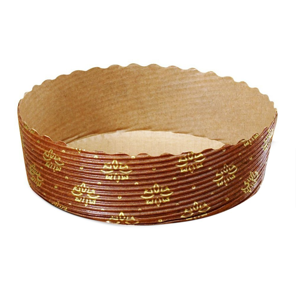 Tortina Tart Mold Use It For Your Chocolate Cakes Or Jelly Tarts! Apple Pie, Cherry Pie And Kind Of Pies, Brown with Gold Print - 4'' x 1.3'' - Set of 25