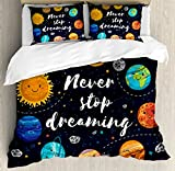 Quote Duvet Cover Set by Ambesonne, Outer Space Planets and Star Cluster Solar System Moon and Comets Sun Cosmos Illustration, 3 Piece Bedding Set with Pillow Shams, Queen / Full, Multi