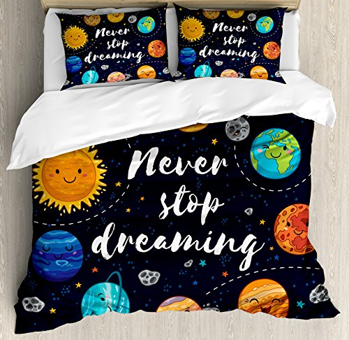 Quote Duvet Cover Set by Ambesonne, Outer Space Planets and Star Cluster Solar System Moon and Comets Sun Cosmos Illustration, 3 Piece Bedding Set with Pillow Shams, Queen / Full, Multi by Ambesonne