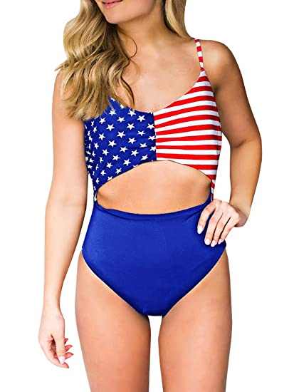 41ea3e1217 Misassy Womens American Flag Print One Piece Swimsuits High Waisted Cut Out  Bathing Suits (Small