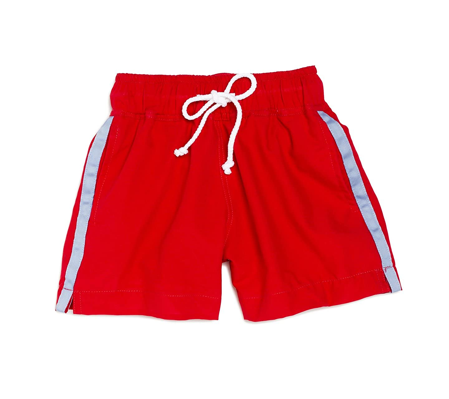 Busy Bees Baby Swim Trunks Elastic Waistband Red