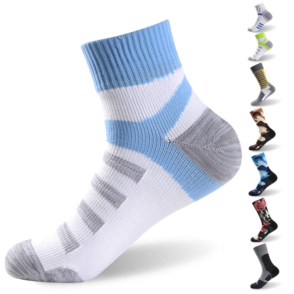 RANDY SUN Waterproof Skiing Socks, Coolmax Athletic Cushion Breathable Moisture Wicking Socks, 1 Pair-White&Blue-Ankle Socks,Small