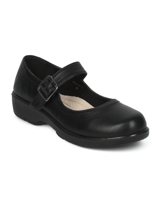 Alrisco Women Leatherette Mary Jane Elevated Heel Walking Shoe HE01