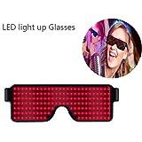 KOBWA Leuchtbrille LED Shutter Shade Brille USB Ladevorgang Leuchten Gläser für Party Masquerade, Nacht Pub,Bar Klub Rave