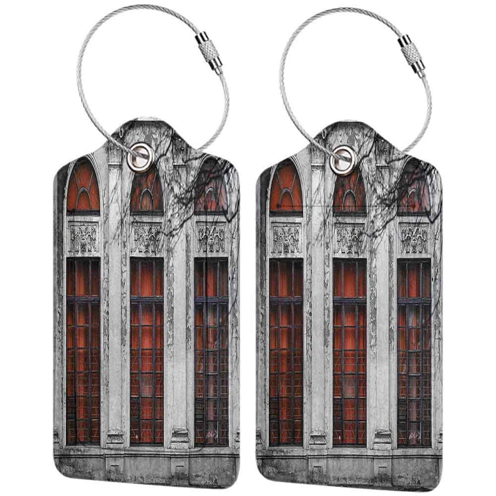 Flexible luggage tag Vintage Decor Facade of Old Abandon Historical Building with Arched Large Window Heritage Art Fashion match Grey Red W2.7 x L4.6