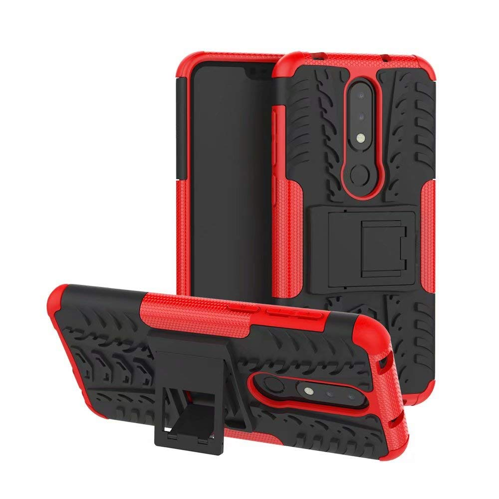 HHF Phone Accessories for Nokia X6/Nokia 6.1 Plus, Hyun Pattern Dual Layer Hybrid Armor Kickstand 2 in 1 Shockproof Case Cover (Color : Red) HongHeFu