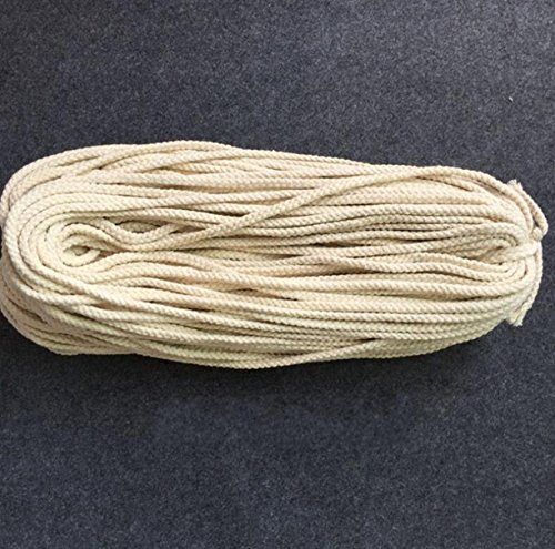 WellieSTR 8mm (80Metters/87.5yards) Pure Cotton Cords Woven Cotton Rope String Craft Cord For DIY Drawstring Bags Accessories Craft Projects -Beige by WellieSTR