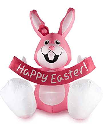 855209a3521e BestParty 4 Ft Inflatable Happy Easter Rabbit Airblown LED Lighted Bunny  Yard Indoor Outdoor Home Decoration