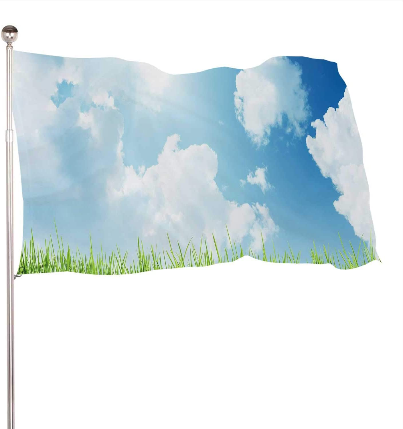 Dxichy Grass at Sunny Day Agricultural Field,Banner Flags with Grommets for Decor Vivid Color and UV Fade Resistant Cloud - Sky 3x5 Ft