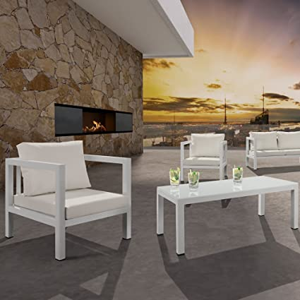 Salon de jardin modulable 5/6 places blanc aluminium ...