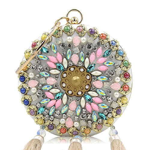 Purse Flada Beaded Decorated Round Argent Evening with Clutch Women Wedding Tassel Blue Handbag Flower nn4Sgzr