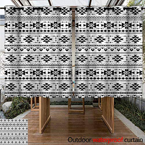 Sunnyhome Custom Outdoor Curtain Aztec Grunge South Pattern on White for Porch&Beach&Patio W 63