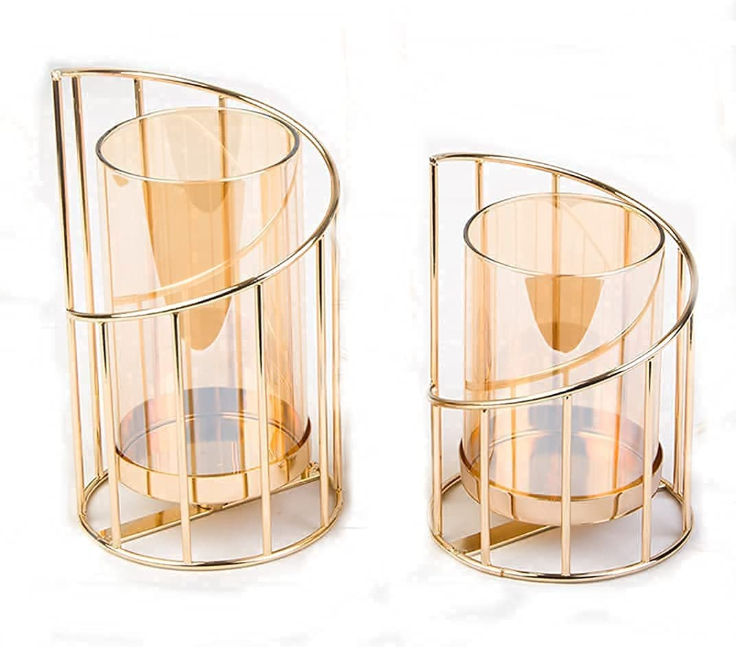 Hurricane Gold Candle Holder with Removable Glass Candle Holder Centerpiece for Candle Decor Modern Candle Holder Metal and Glass Crystal Candle Holders Candle Holders and Vase Dual Purpose Set of 2