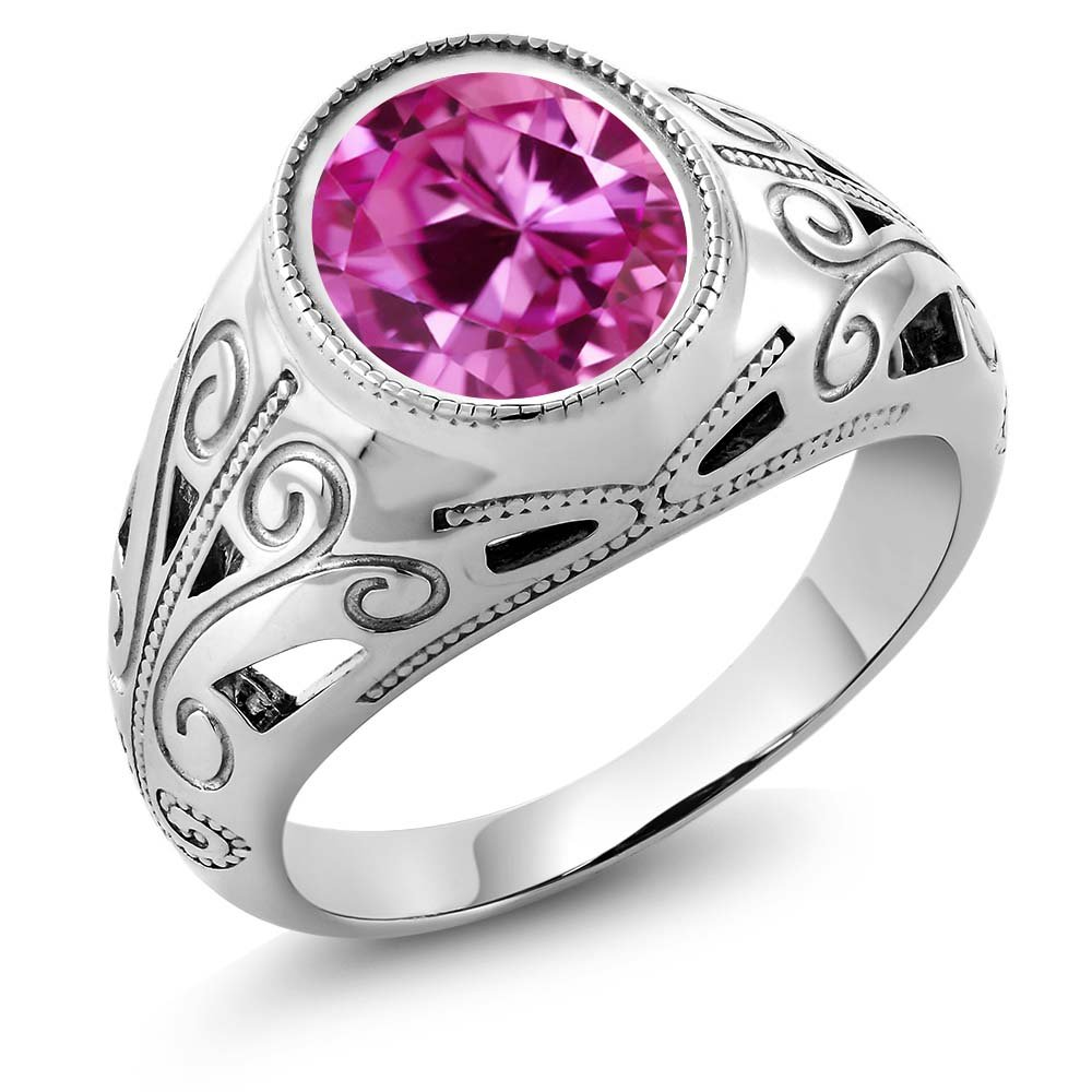 925 Sterling Silver Oval Pink Created Sapphire Men's Ring 6.00 Ct (Size 12)