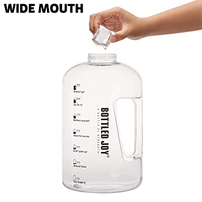 BPA Free Large Water Bottle Hydration with Motivational Time Marker Reminder Leak-Proof Drinking Big Water Jug BOTTLED JOY 1 Gallon Water Bottle Clear Gallon