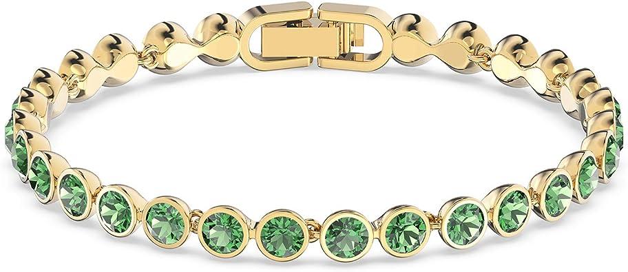 Lady Regalo Blanco Zirconia CZ chapado en oro pulsera declaración de tenis Verde Esmeralda