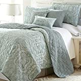 6 Piece Sage Green Paisley Quilt Queen Set, Silver Floral Damask Medallion Flower Pattern Theme Bedding French Country Flowers Motif Shabby Chic Reversible Solid Color Print Quilted Texture, Polyester
