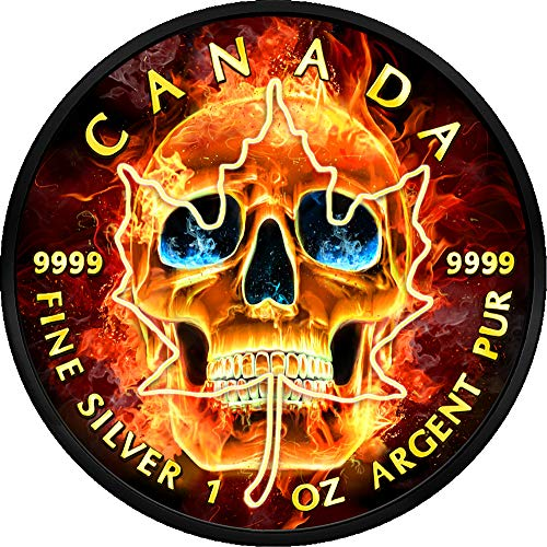 2018 CA Modern Commemorative PowerCoin BURNING SKULL Maple Leaf Ruthenium 1 Oz Silver Coin 5$ Canada 2018 BU Brilliant Uncirculated