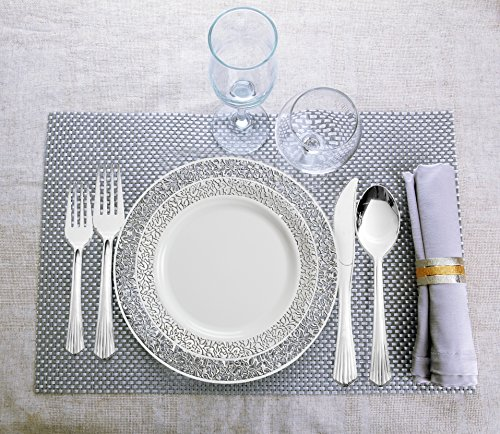 Lace Collection, 720 Pieces Plastic China Plates Silverware Combo for 120 People (240 Lace Collections White Plates