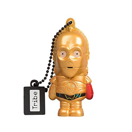Tribe Disney Star Wars C3PO - Memoria USB 2.0 de 16 GB Pendrive Flash Drive de Goma con Llavero, Color Oro