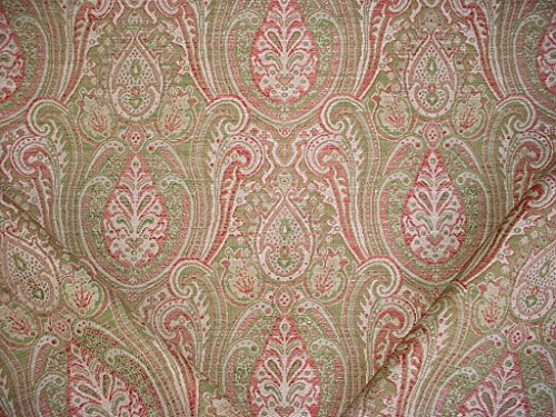 98RT14 - Petal Rosewood Pistachio Persian Paisley Medallion Kilim Tapestry Drapery Upholstery Drapery Fabric - By the Yard