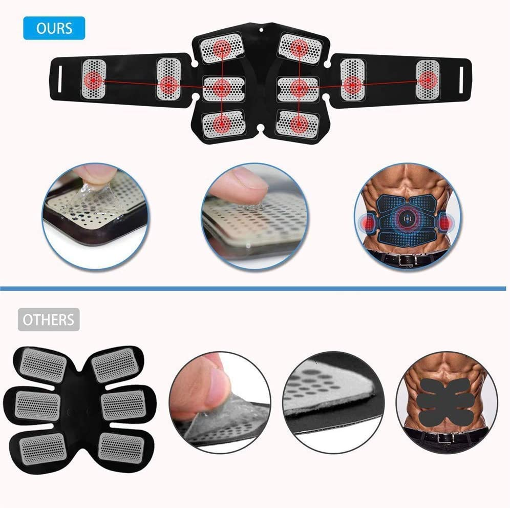 Jieer Muscle Stimulator Toner Fitness Training Gear Machine at Home//Office USB Rechargeable Abs Trainer Fitness Training Gear with 6 Models /& 10 Levels Muscle Stimulator